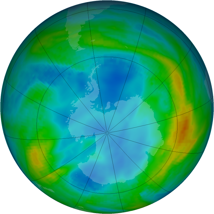 Antarctic ozone map for 19 May 1984