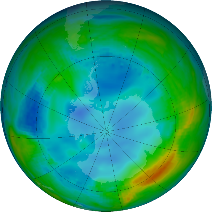 Antarctic ozone map for 21 May 1984