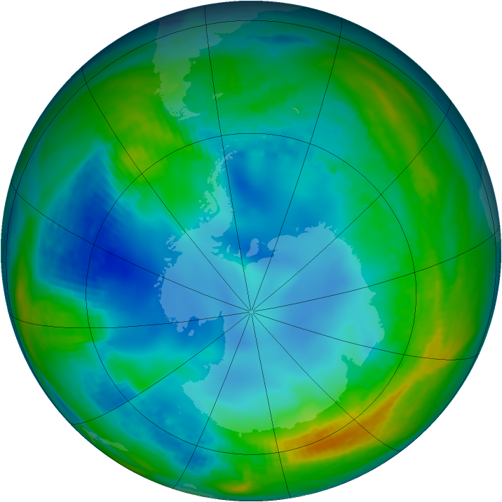 Antarctic ozone map for 22 May 1984