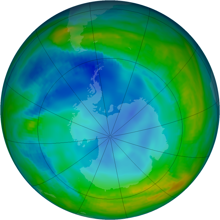 Antarctic ozone map for 25 May 1984
