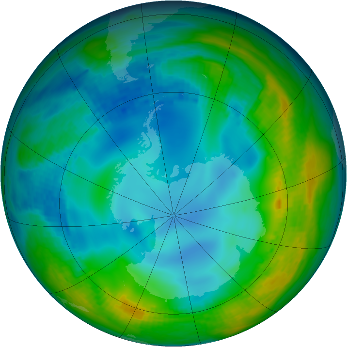 Antarctic ozone map for 27 May 1984