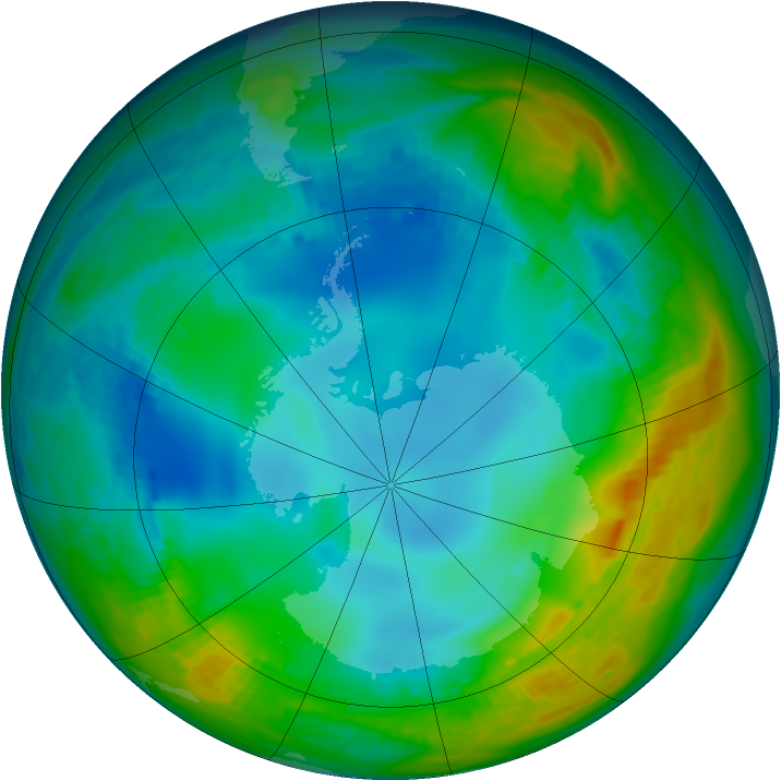 Antarctic ozone map for 28 May 1984