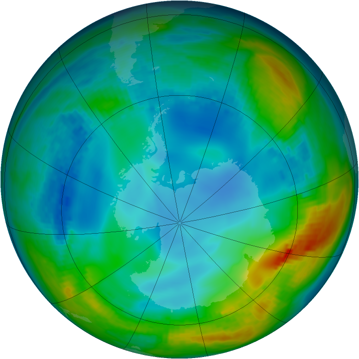 Antarctic ozone map for 29 May 1984