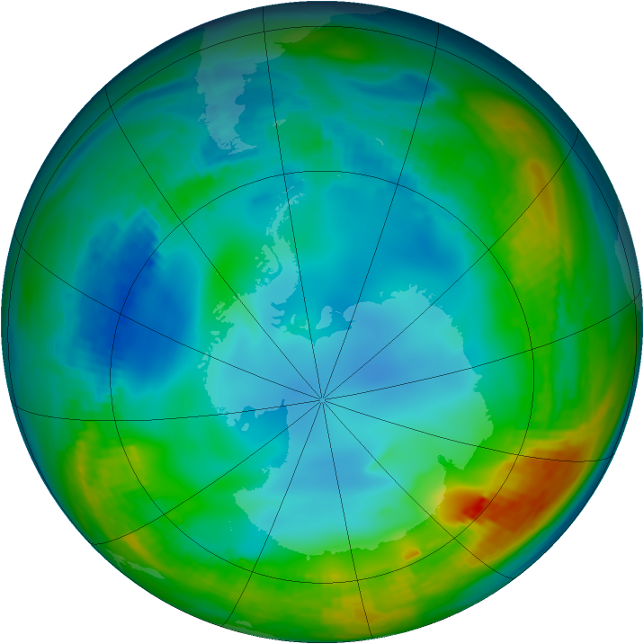 Antarctic ozone map for 30 May 1984