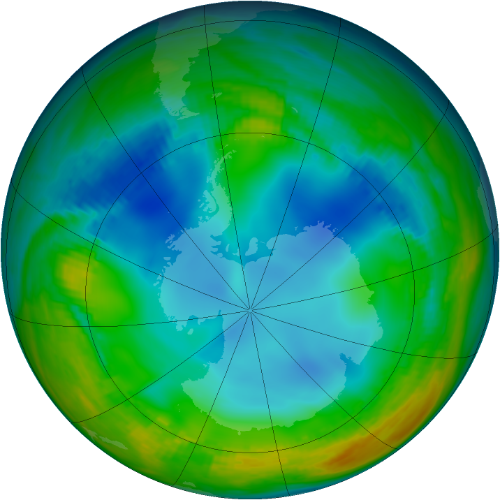 Antarctic ozone map for 02 June 1984