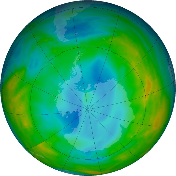 Antarctic ozone map for 06 June 1984