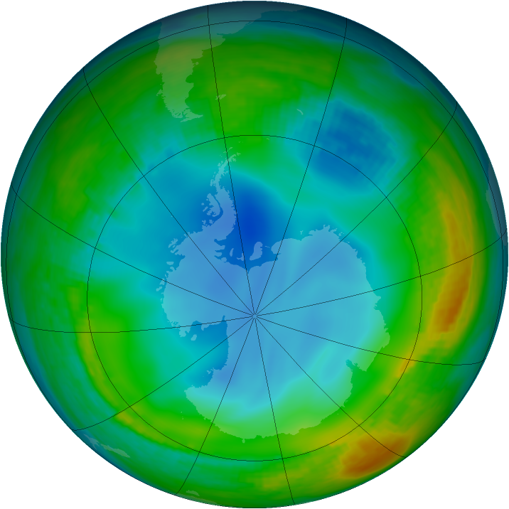 Antarctic ozone map for 11 June 1984
