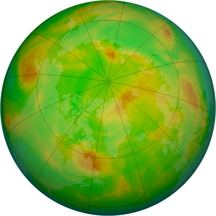 Arctic ozone map for 13 June 1984