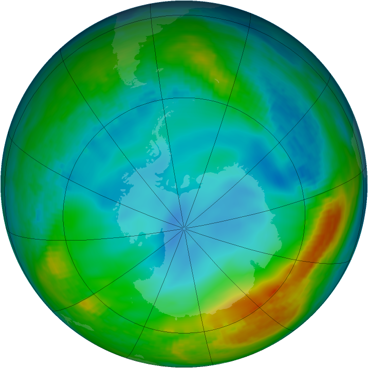 Antarctic ozone map for 13 June 1984