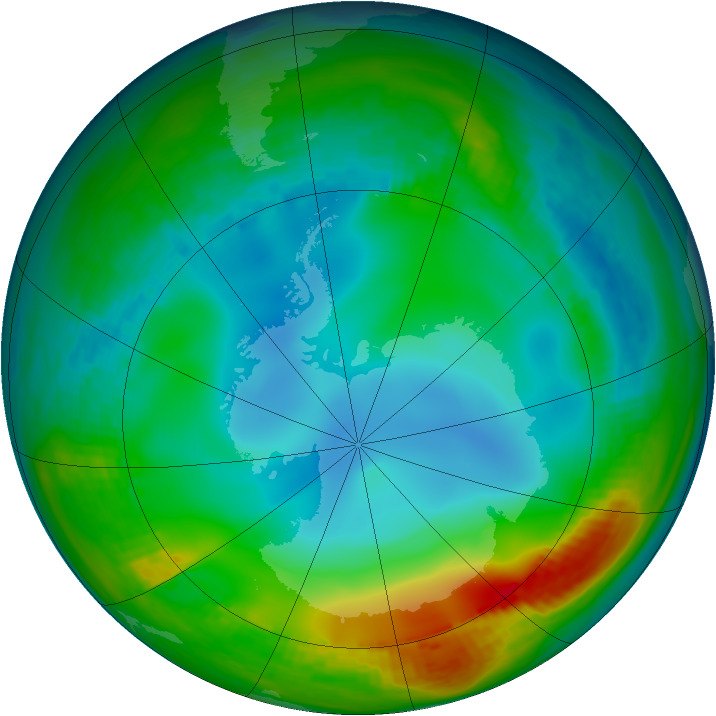 Antarctic ozone map for 14 June 1984