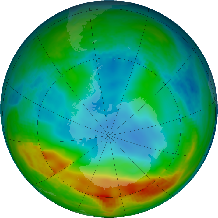 Antarctic ozone map for 15 June 1984