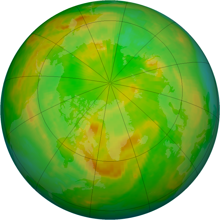 Arctic ozone map for 18 June 1984