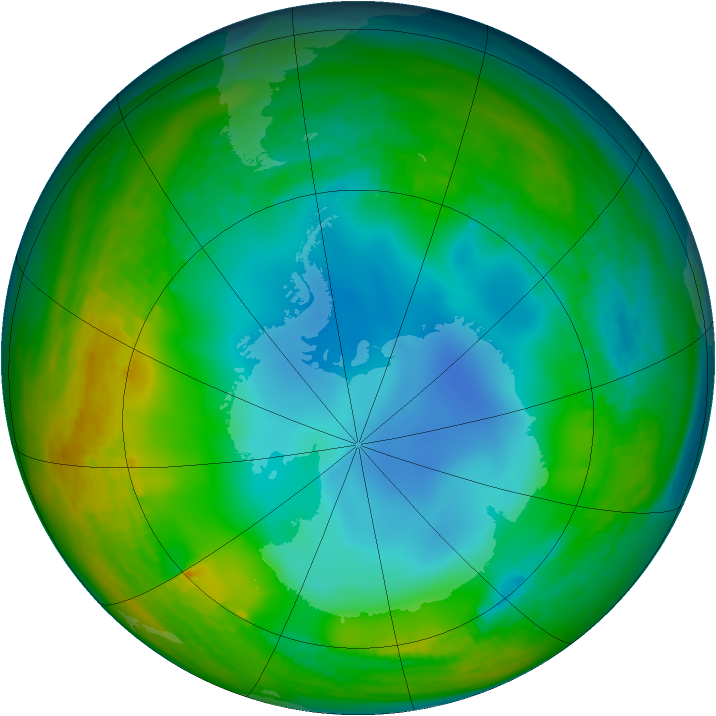 Antarctic ozone map for 20 June 1984