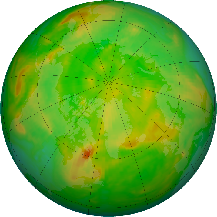Arctic ozone map for 21 June 1984