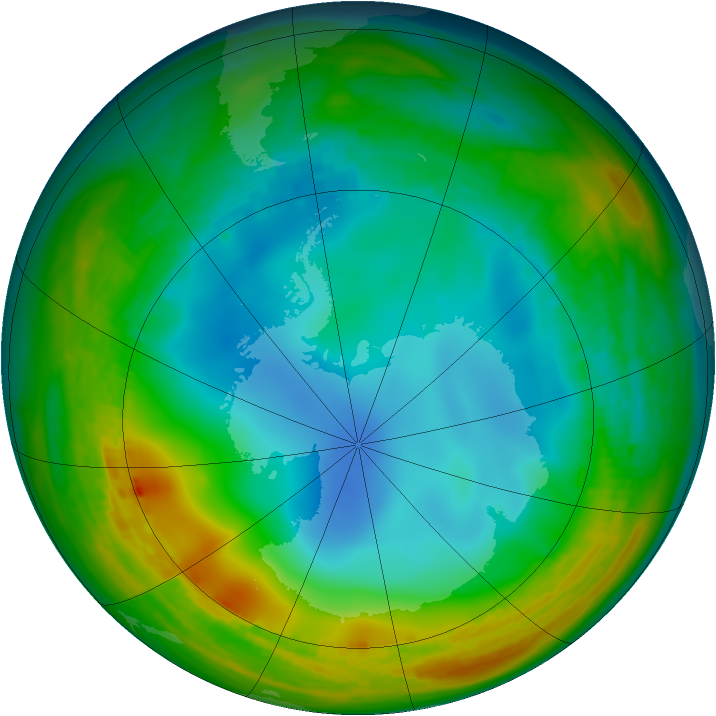 Antarctic ozone map for 27 June 1984