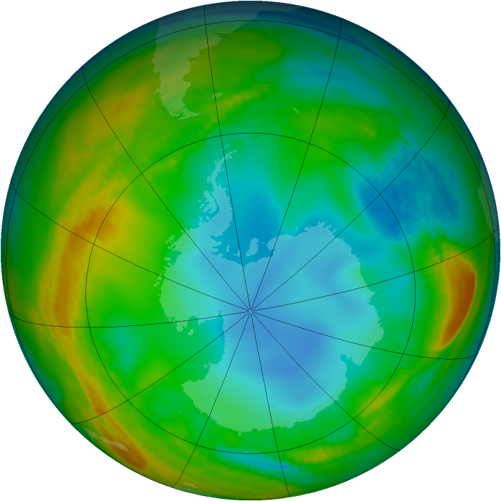 Antarctic ozone map for 06 July 1984