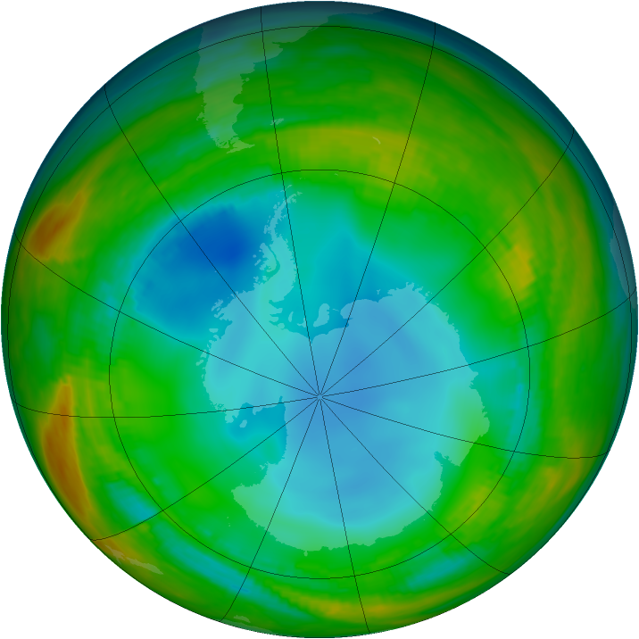 Antarctic ozone map for 17 July 1984