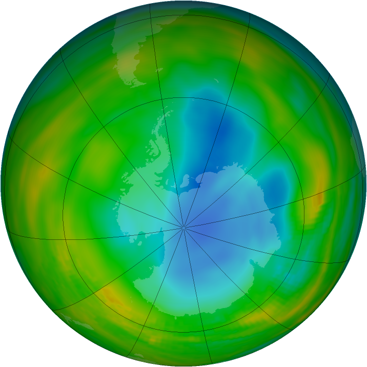 Antarctic ozone map for 23 July 1984