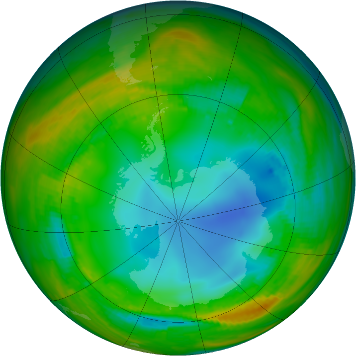 Antarctic ozone map for 25 July 1984