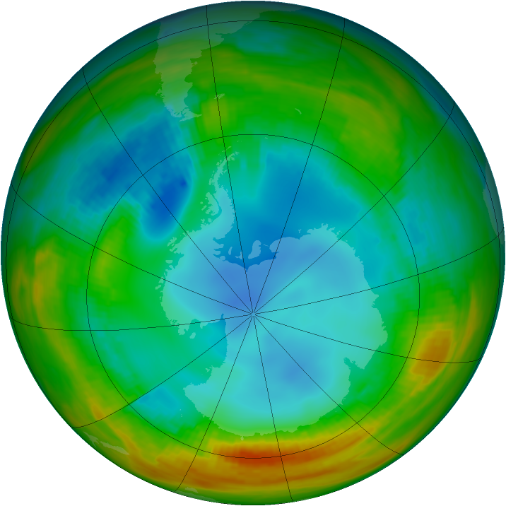 Antarctic ozone map for 31 July 1984