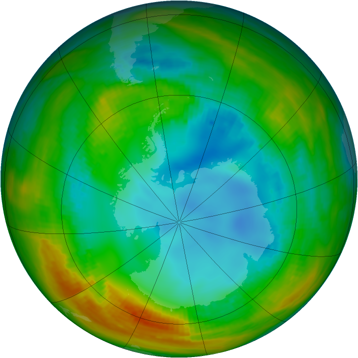 Antarctic ozone map for 02 August 1984