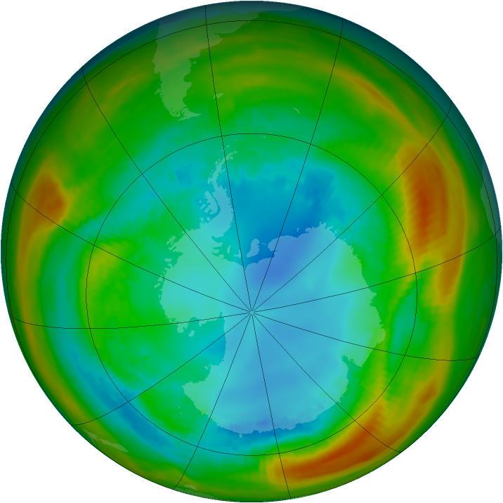 Antarctic ozone map for 13 August 1984