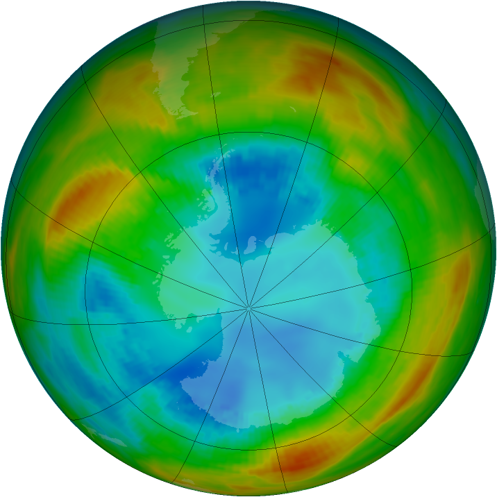 Antarctic ozone map for 16 August 1984