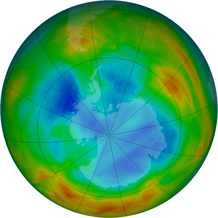 Antarctic ozone map for 22 August 1984