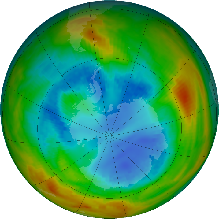 Antarctic ozone map for 23 August 1984