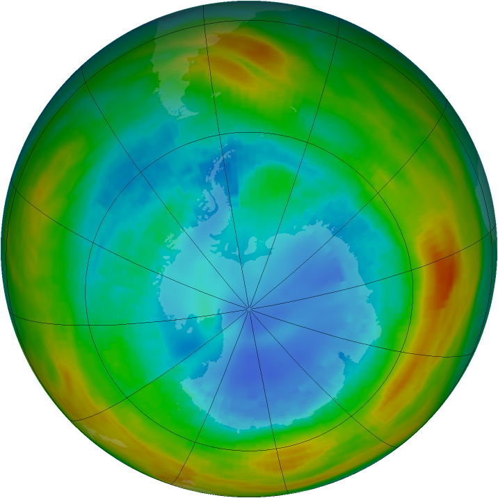 Antarctic ozone map for 25 August 1984
