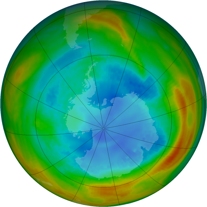 Antarctic ozone map for 26 August 1984