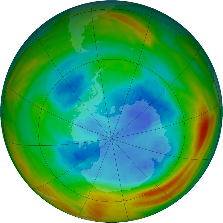 Antarctic ozone map for 27 August 1984