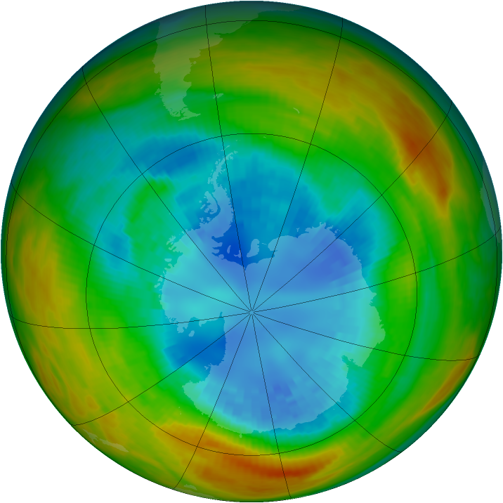 Antarctic ozone map for 01 September 1984
