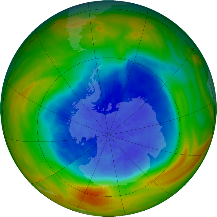 Antarctic ozone map for 24 September 1984