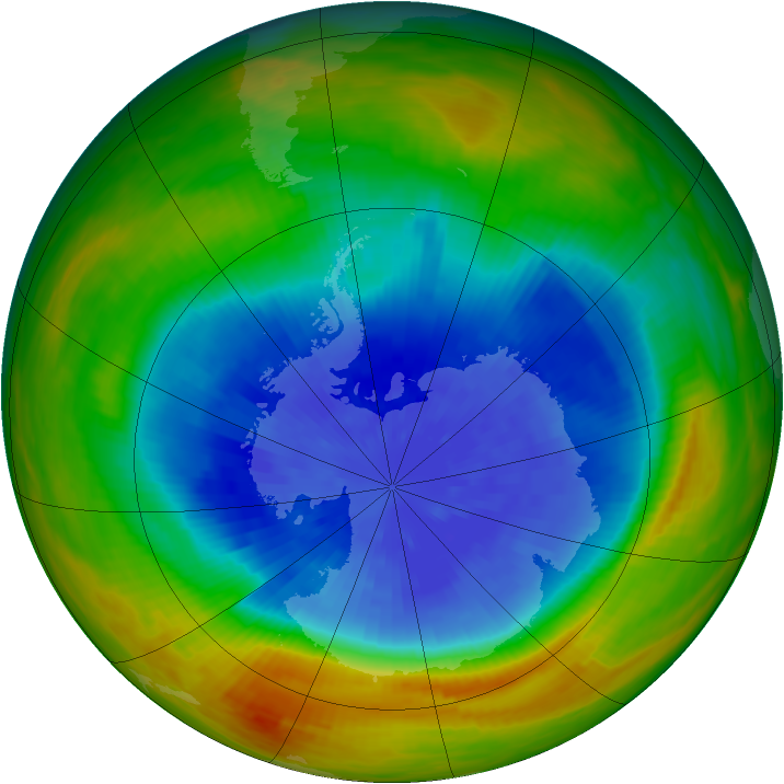 Antarctic ozone map for 25 September 1984