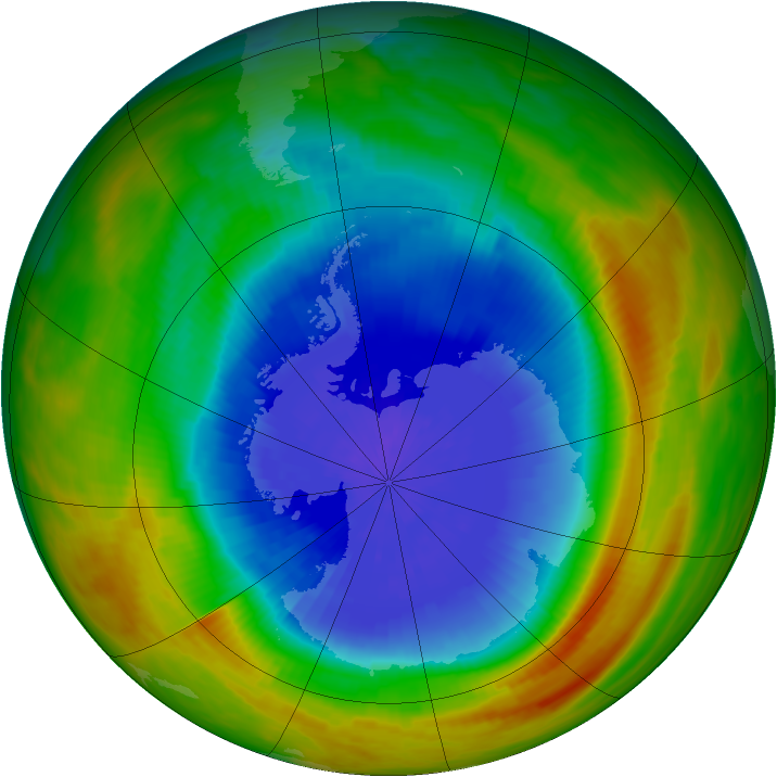 Antarctic ozone map for 03 October 1984