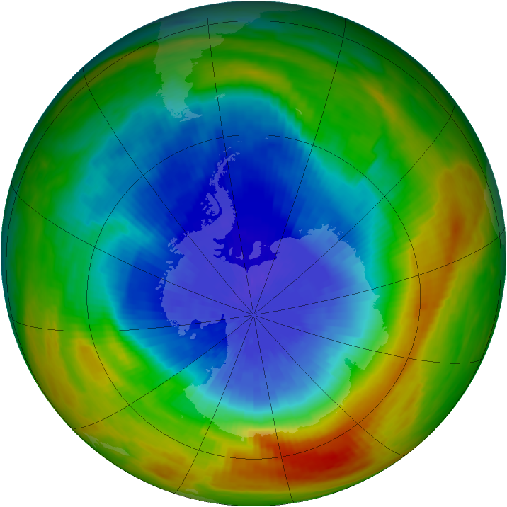 Antarctic ozone map for 05 October 1984