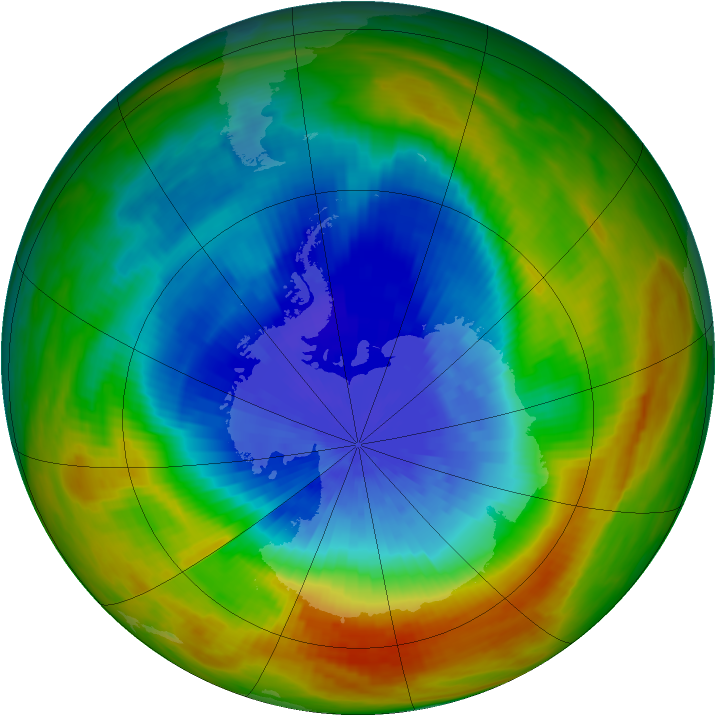 Antarctic ozone map for 06 October 1984