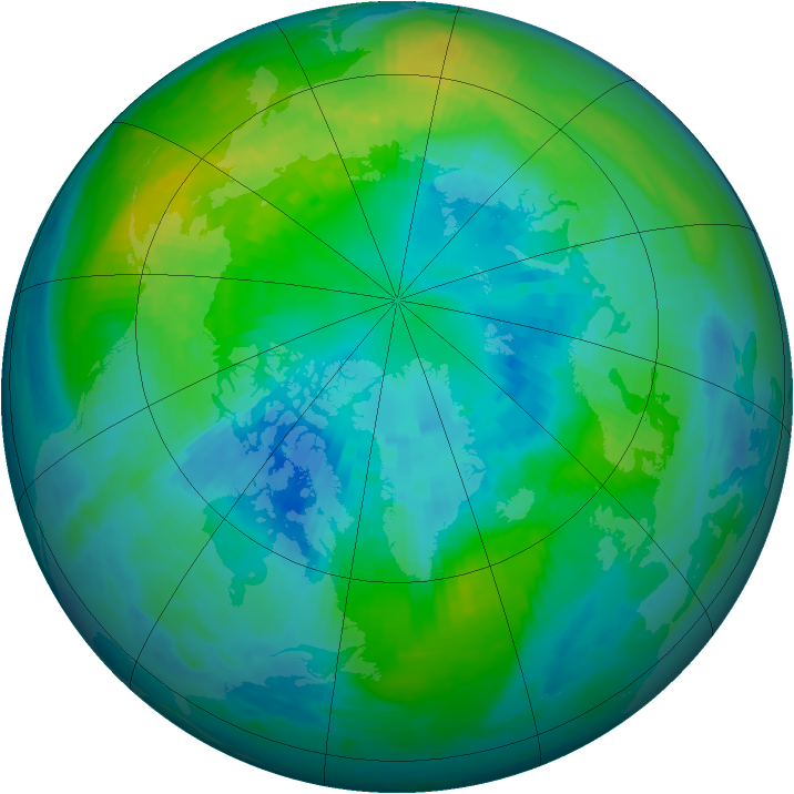 Arctic ozone map for 12 October 1984
