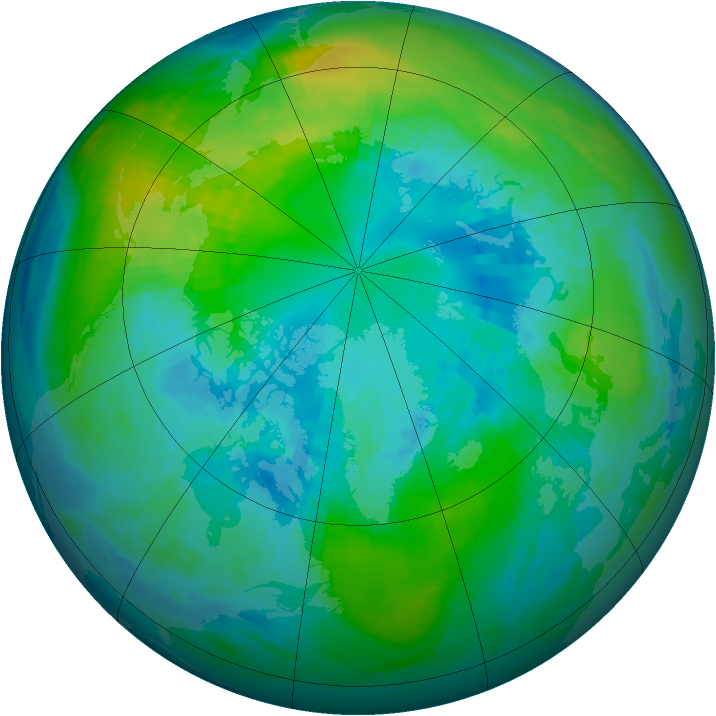 Arctic ozone map for 13 October 1984