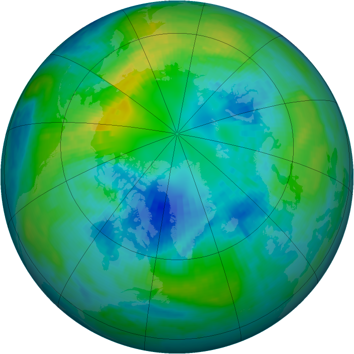 Arctic ozone map for 15 October 1984