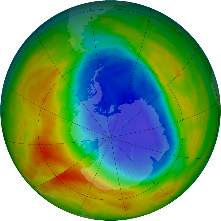 Antarctic ozone map for 22 October 1984