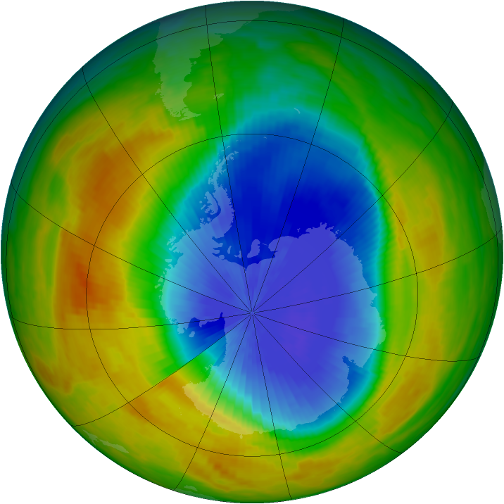 Antarctic ozone map for 23 October 1984