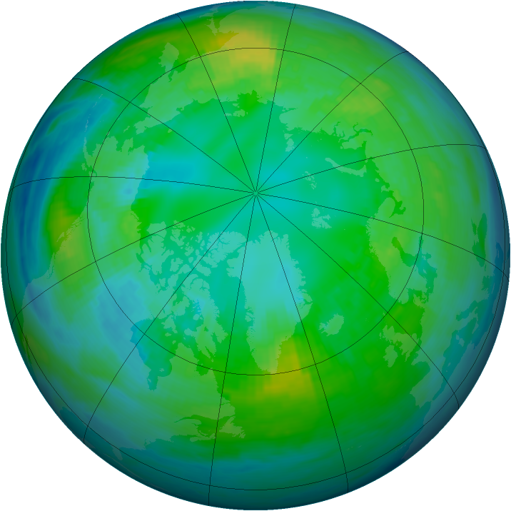 Arctic ozone map for 25 October 1984
