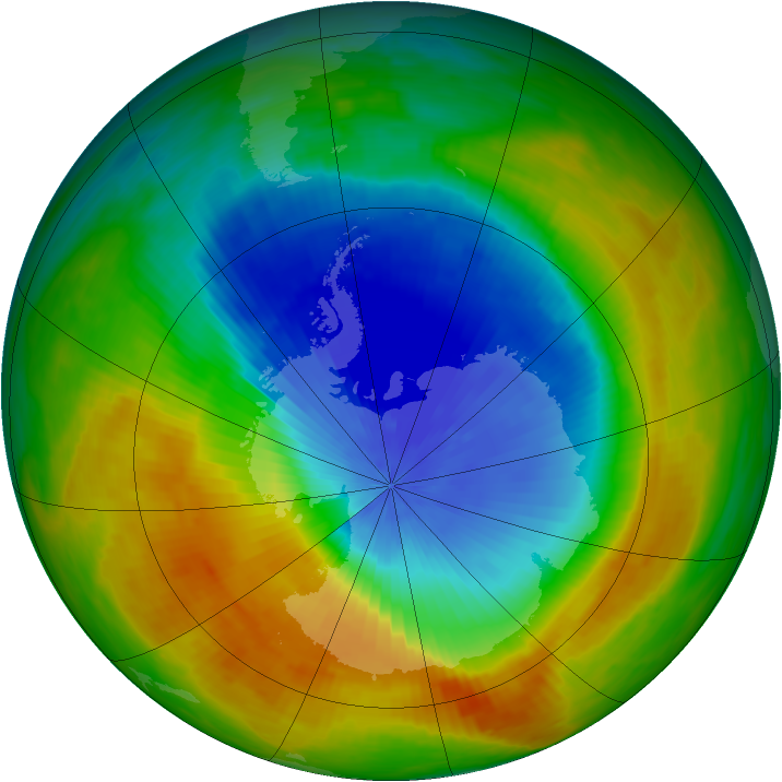 Antarctic ozone map for 29 October 1984