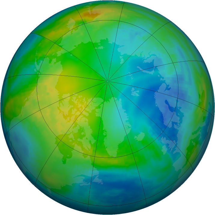 Arctic ozone map for 12 November 1984