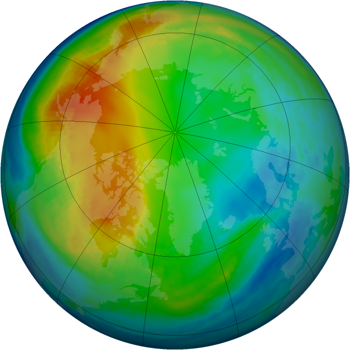 Arctic ozone map for 22 November 1984