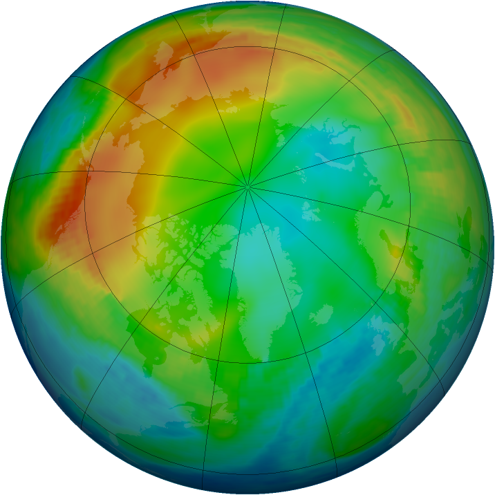 Arctic ozone map for 09 December 1984