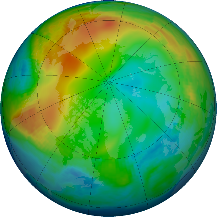 Arctic ozone map for 10 December 1984
