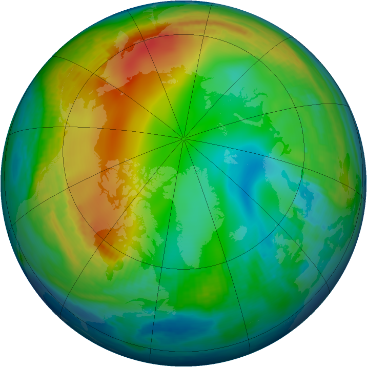 Arctic ozone map for 12 December 1984